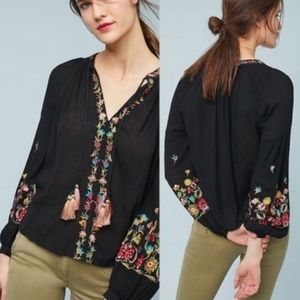 Anthro Maeve Embroidered Lanie Peasant blouse